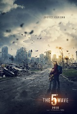 A teenage girl and a young boy hold hands with their backs to the camera as they stand in the middle of a destroyed urban scene. Movie poster.