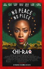 A young African American woman looks directly at the camera. Movie poster