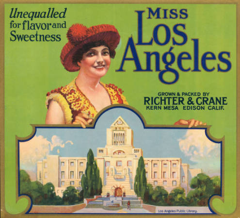 Fruit crate label shows the Los Angeles Central Library