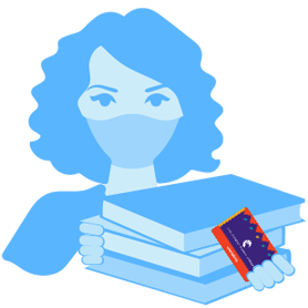 illustration of a woman with books