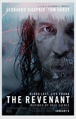 A man with a large beard covered in snow faces the camera. Movie poster.