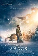 A man and a woman stand in the snow in front of a shack. Movie poster.
