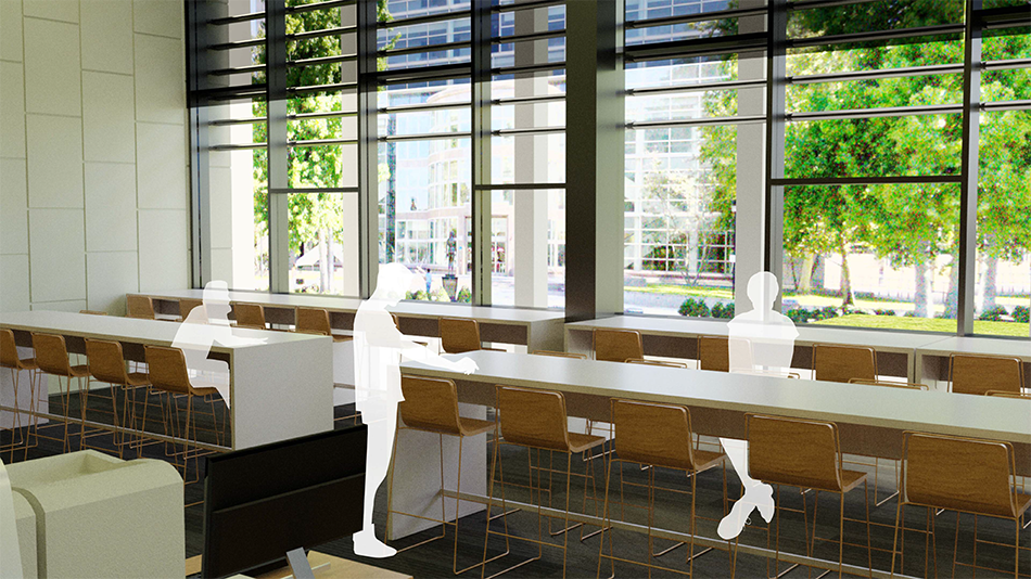 rendering of redesigned interior space
