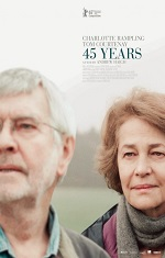 Close up shot of an older caucasian couple looking in different directions off screen. Movie poster.