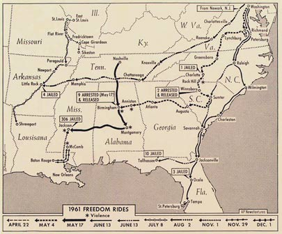 Freedom Riders map