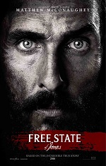 A close up of a man staring directly into the camera. Movie poster.