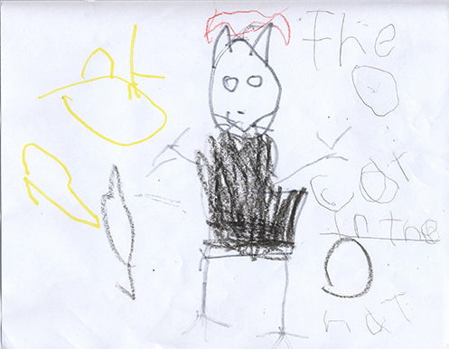 Child's drawing of the Cat in the Hat