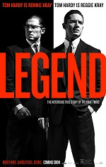 Two identical man in suits stand side by side. Movie poster.