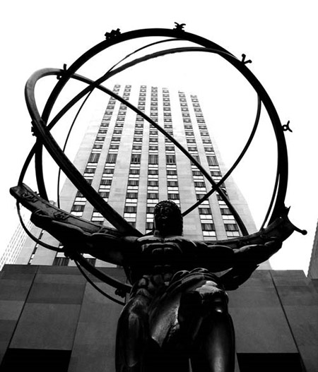 Lawrie's bronze Atlas at Rockefeller Center in New York installed 1937.