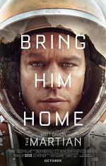 A man in a space suit faces the camera. Movie poster