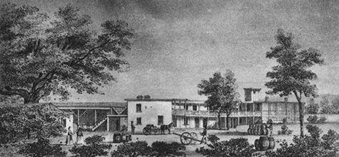 Photo of a drawing of Vignes' wine establishment in 1831.