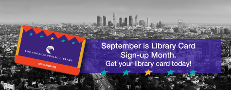 Library card and text that reads get your library card today!