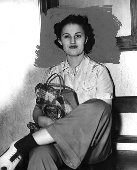 "Photograph caption dated May 9, 1940 reads, ""Florine French - Tells of White Slave Life."""