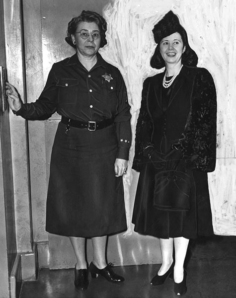 December 9, 1941 Ann Forst of Los Angeles is shown at right, at left is Jail Matron Vada Russell