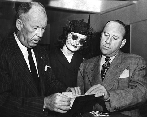 August 11, 1948 Brenda Allen (center)with Deputy City Attorney Lindsay Dickey (left), and Attorney Max Solomon