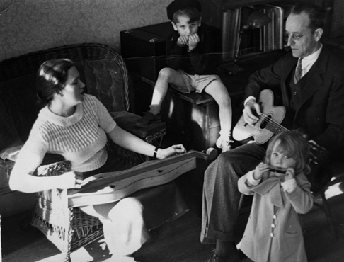 Ruth Crawford and Charles Seeger with their son Mike and daughter Peggy, ca. 1937