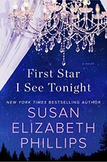 first star i see tonight book cover. dark blue sky background with crystal chandelier