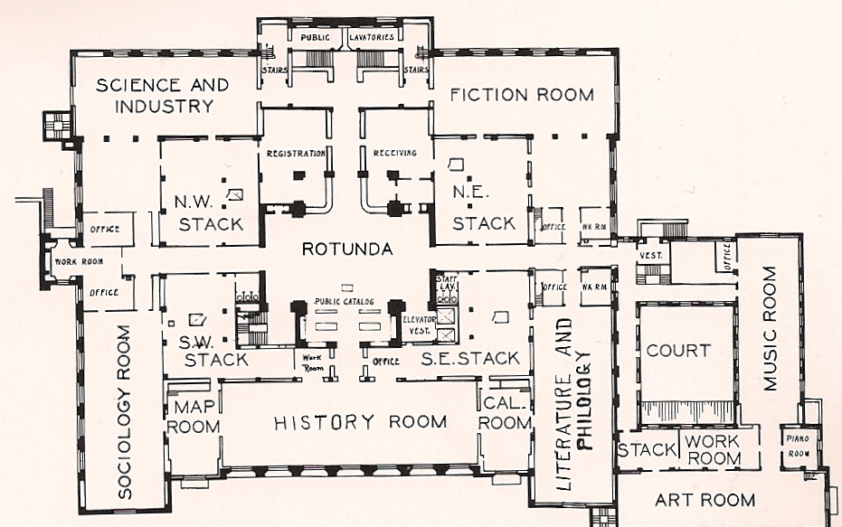 Goodhue's original quadrant design promoted circulation throughout the building