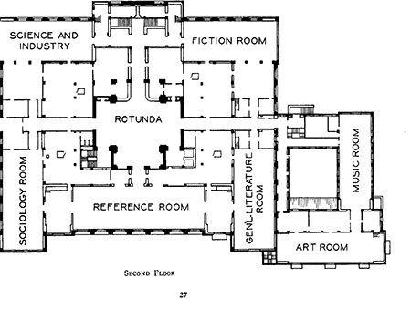 Perry's Floor plan for the main floor of the LA Library
