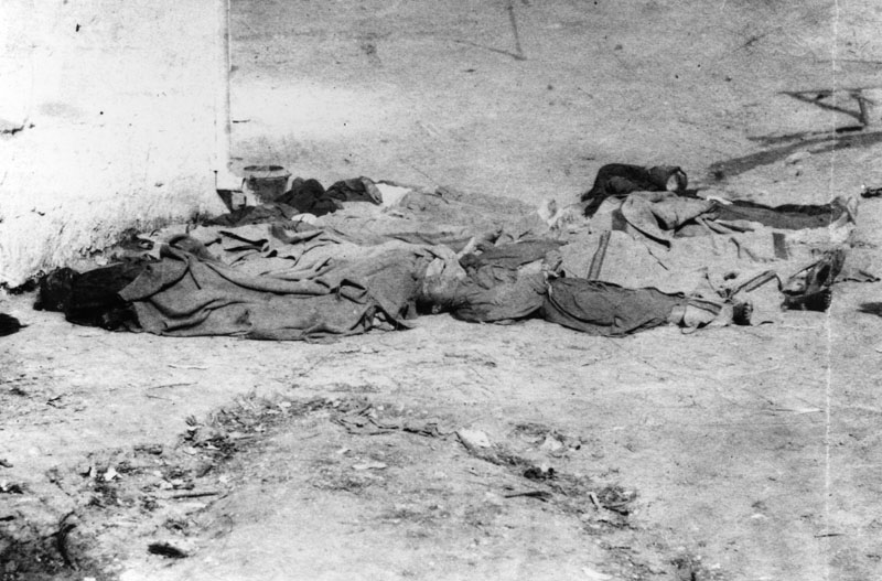 The bodies of 17 Chinese men and boys lie in the Los Angeles jail yard on October 24, 1871, the results of the Chinese massacre.