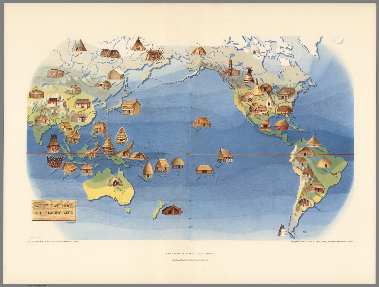 Pictorial Map: Native Dwellings of the Pacific