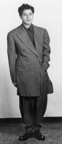 A young man wearing a zoot suit. (1944). Courtesy of Los Angeles Public Library Shades of L.A.: Mexican American Community photo collection.