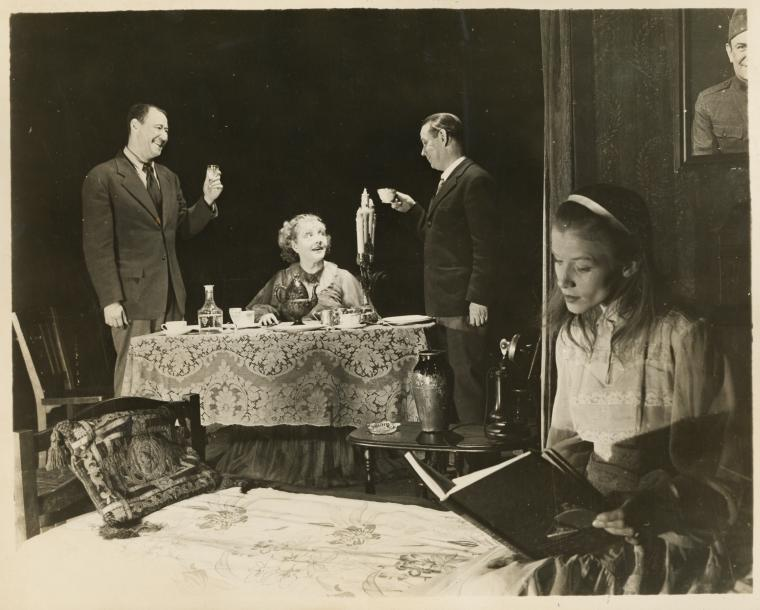 Anthony Ross, Laurette Taylor, Eddie Dowling, and Julie Haydon in the stage production The Glass Menagerie. The New York Public Library Digital Collections. 1945.