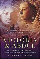 victoria and abdul book cover. faded photograph of both of them. in black and white