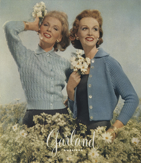 two women wear light blue sweaters
