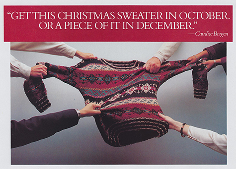 photo of hands grabbing a sweater in different directions