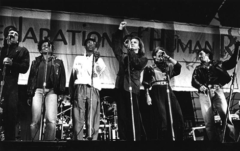 from left, Peter Gabriel, Tracy Chapman, Youssou N'Dour, Sting, Joan Baez and Bruce Springsteen take the stage at the Coliseum for the Human Rights Now! concert.