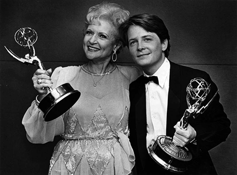 Betty White and Michael J. Fox with their Emmys