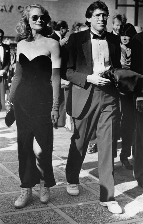 Cybill Shepherd paired her slinky black evening gown with matching ankle socks and fluorescent Reeboks