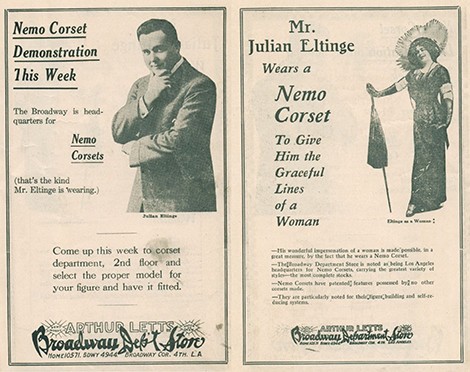 vintage advertisements featured in the program for The Fascinating Widow