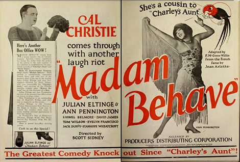 Trade ad for Madame Behave (1925)