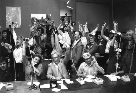 Jubilant participants are pictured during the 1987 Save the Books telethon.