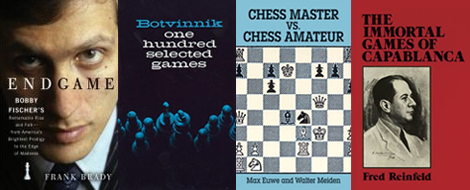 4 book covers of chess manuals
