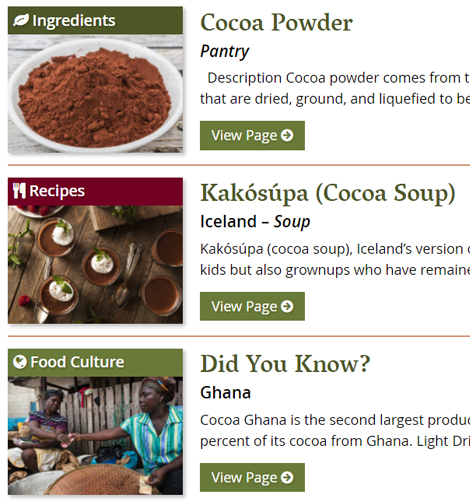 screen shot from the A to Z World Food database