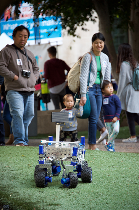 JPL Rover with family in background
