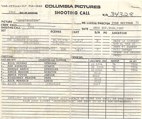 shooting call sheet for ghost busters film