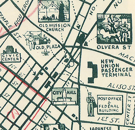 Sightseeing map of Los Angeles and Hollywood 1940
