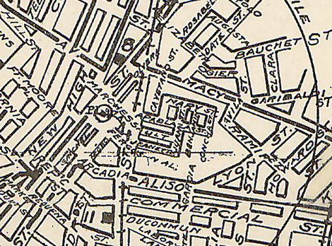 Rueger's map of the city in 1902, once more excluding name Chinatown but including Ferguson's alley.