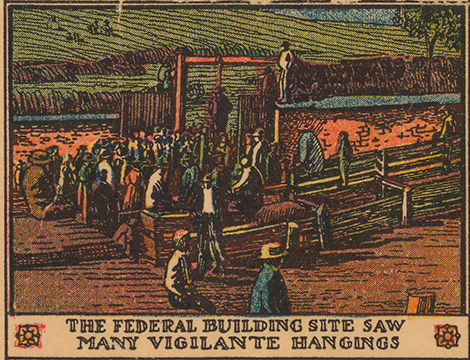 Border illustration of site of lynchings during Chinese massacre of 1871