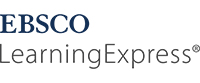 a logo in blue and grey for learning express