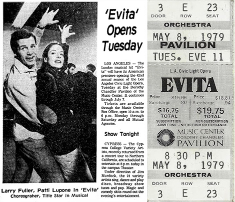 A ticket from opening night of Evita