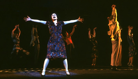 "Patti LuPone as Eva Peron singing ""Buenos Aires"" in a scene from the Broadway production of the musical ""Evita."""