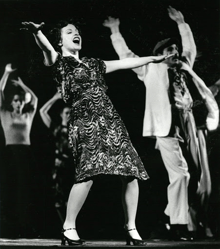 "LuPone performing ""Buenos Aires"" during the Los Angeles run at the Dorothy Chandler Pavilion"