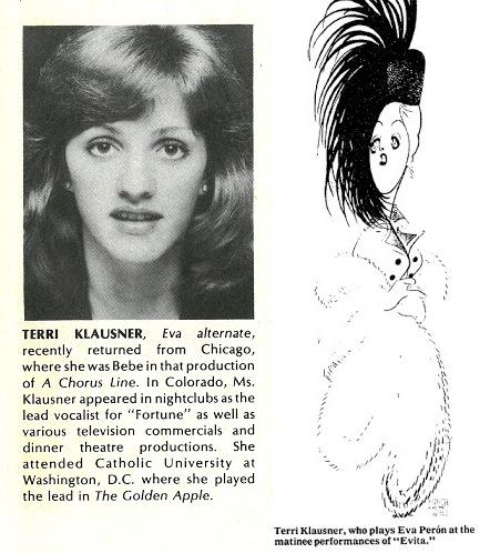 (Left) Klausner's bio from the LACLO program. (Right) The ingenue was immortalized by legendary caricaturist Al Hirschfeld as Eva