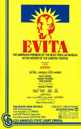 An original window card for the American premiere of Evita in Los Angeles