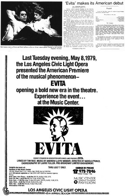 Garner McKay's review of Evita featured in the May 10, 1979 edition of the Los Angeles Herald Examiner